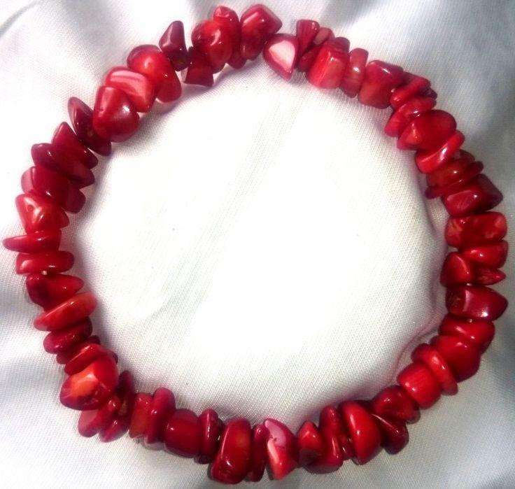 Rote Koralle Heilstein Armband Bracelet