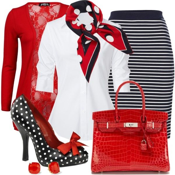"""Stripes & Polka Dots"" by justbeccuz on Polyvore... yea this is me ALL OVER! but I think i would want a polka dot pencil skirt too."