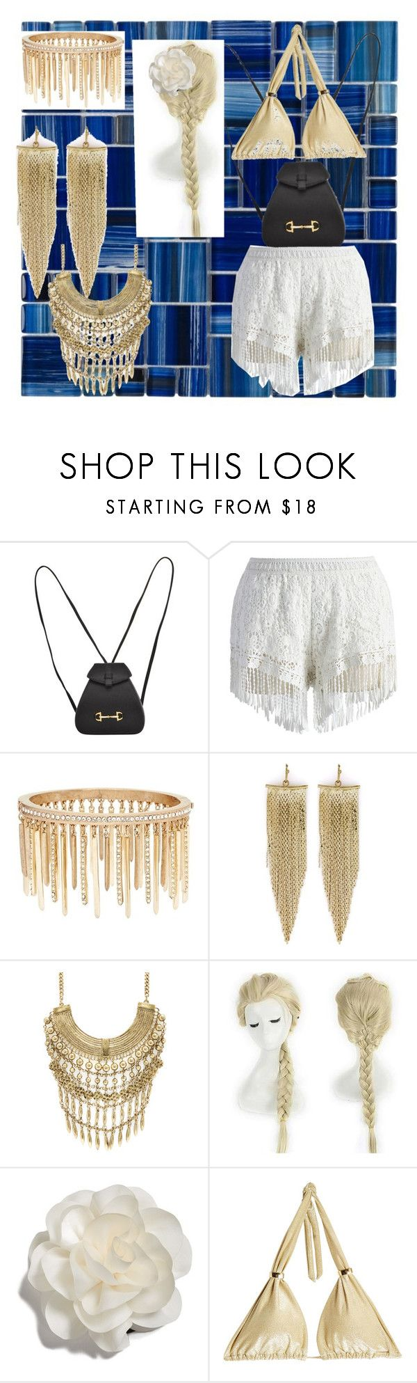 """""""Golden Hippie"""" by nini-pie ❤ liked on Polyvore featuring Gucci, Chicwish, Jenny Packham, Kenneth Jay Lane, Marabelle, Clair Beauty, Cara and OndadeMar"""