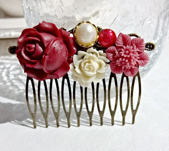 Cabochon utopia bridal bride hair pin comb romantic by AdoredByYou