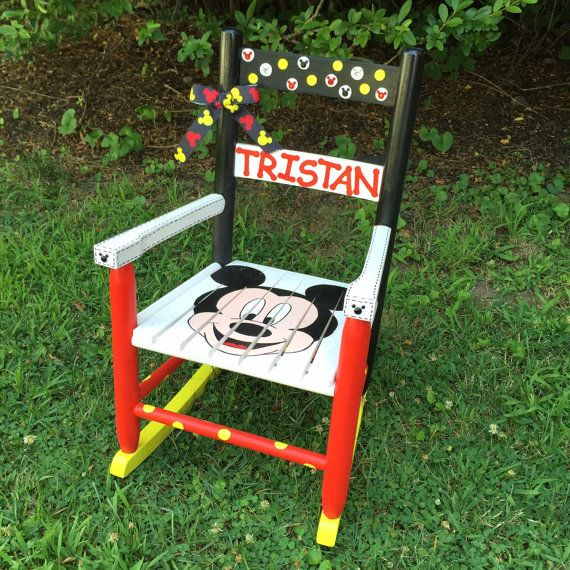 Mickey Mouse Themed Rocking Chair Painted Kids by KattCreations