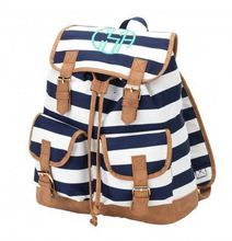 Navy stripe Blue Personalized Backpack
