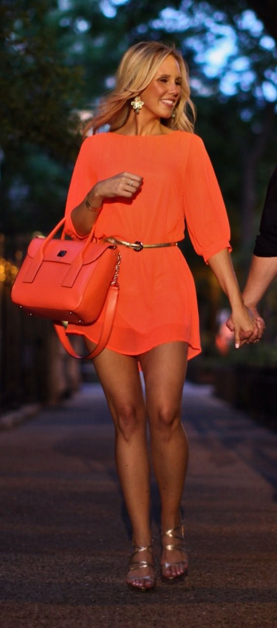Bright orange pretty summer dress