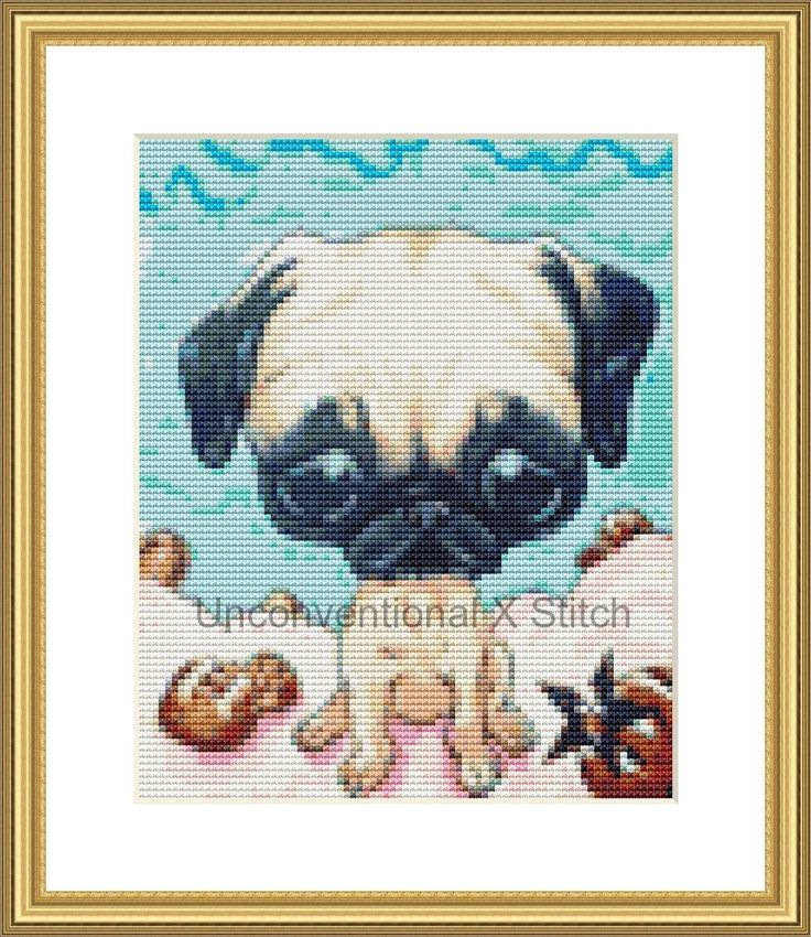 Pug  dog mini cross stitch pattern - Licensed Sugar Fueled by UnconventionalX on Etsy