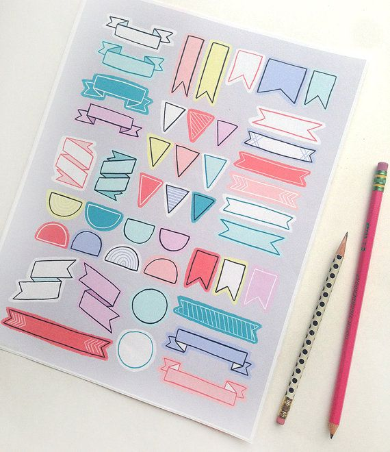Eine Reihe von druckbaren illustrierte Fahnen und Banner auf einem Blatt 8.5 x 11 Zoll für Organisation, Planer, Filofax, Zeitschriften usw..!