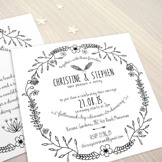 Boho Sweet © Paper Wedding 2015  Wedding invitation from the Off-the-Rack collection: http://www.paperwedding.co.nz/#!off-the-rack-designs/c1dlq