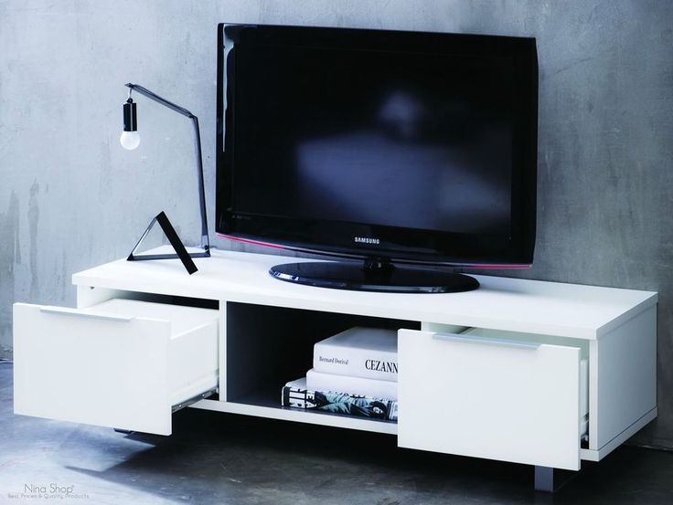 Tv Table With Storage Part - 50: White Wooden TV Table Stand Storage Drawers Shelf Unit Living Room  Entertainment