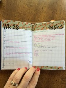 Week 28 Calendar & Tasks After Shot #onebookjuly2014 #midoritravelersnotebook #fieldnotes #chicsparrow