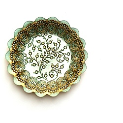 Arda Romantic Turquoise/Brown Gilded Salad Plates (Set of 4)