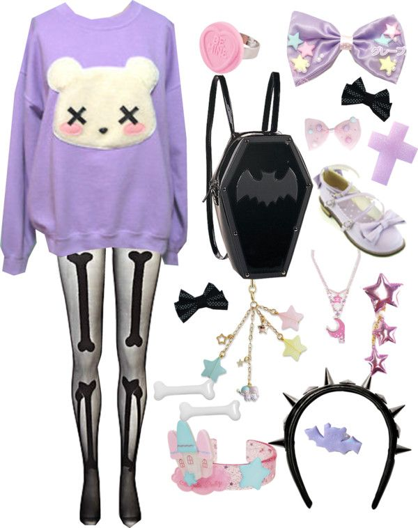 """Pastel goth #2"" by twisted-candy ❤ liked on Polyvore"