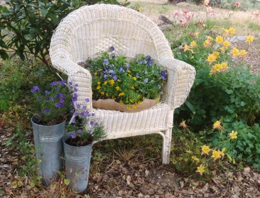 Take a couple old pieces of junk and transform them into into new and beautiful little garden scene