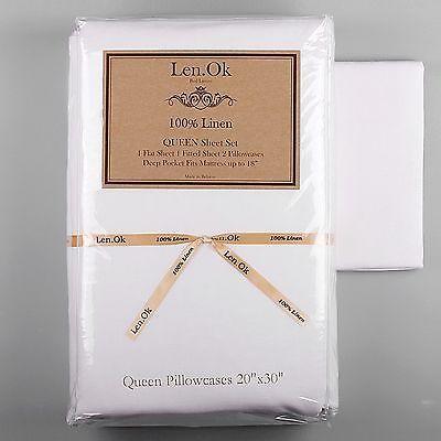 Brand New 100% Linen SHEET SET 4pc Whites Natural Luxury European Flax Bedding