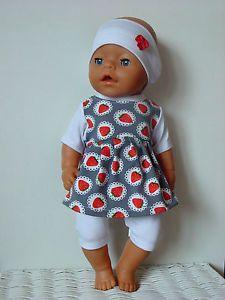 Puppenkleidung-Sommer-Set-3tlg-f-z-B-BABY-BORN-Kruemel-o-a-42-44cm-Puppen-NEU