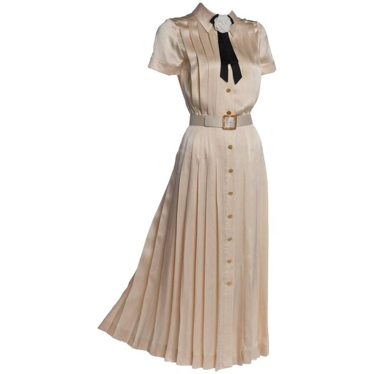 1990s Chanel Creme Silk Knife Pleats Camellia Bow Belted Shirt Dress Documented | From a collection of rare vintage evening dresses and gowns at https://www.1stdibs.com/fashion/clothing/evening-dresses/