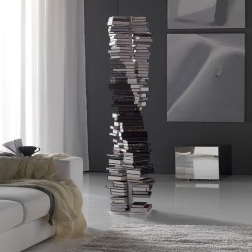 The DNA Bookcase is a vertical floor standing bookcase from Cattelan Italia. It is available in white or black laquered steel, with a steel base. It has 13 shelves.For further information please phone us on 01223327463