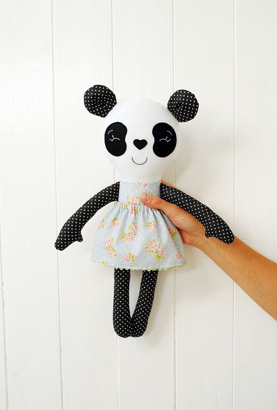 This cute panda is made of cotton fabrics and felt. It's firmly stuffed with non-allergenic polyester fiber. Eyes and mouth are carefully hand
