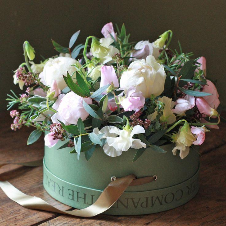 Pastel Roses & Sweet Peas Hat Box Arrangement