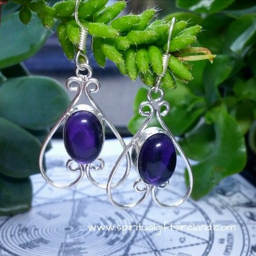 Amethyst Wire Heart Gemstone Silver Earrings Visit our store at www.spiritualgiftsireland.com  Follow Spiritual Gifts Ireland on www.facebook.com/spiritualgiftsireland www.instagram.com/spiritualgiftsireland