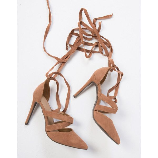 To the Point Suede Heels ($28) ❤ liked on Polyvore featuring shoes, pumps, camel, lace up shoes, pointed toe stilettos, camel pumps, lace shoes and high heel stilettos
