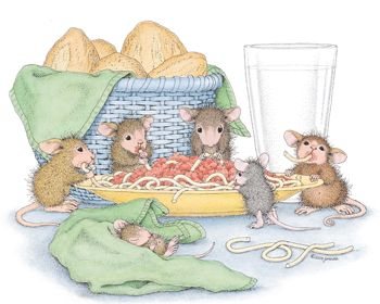 """Mudpie, Maxwell, Amanda, Muzzy and Monica from House-Mouse Designs® featured on the The Daily Squeek® for October 30th, 2013. Click on the image to see it on a bunch of really """"Mice"""" products."""