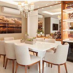 Sala de jantar super convidativa {} Paleta de cores neutra e aconchegante { Projeto Larson Mantovani }