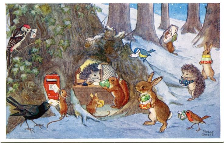 'Woodland Post Office' postcard by Molly Brett
