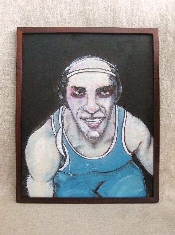 Portrait of Wrestler , Male Portrait , Sports Portrait , Painting , Wrestling…