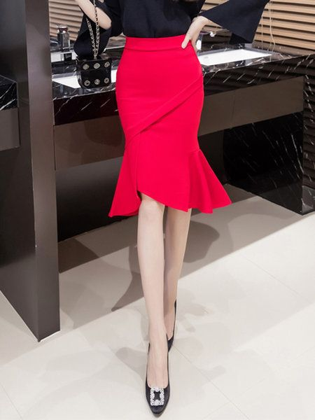 Shop Skirts - Red Cotton Elegant Skirt online. Discover unique designers fashion at JustFashionNow.com.