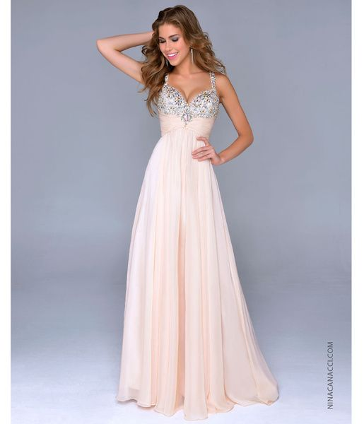 Nina Canacci 2014 Prom Dresses - Nude Chiffon & Beaded Bodice Prom Gown - DRESSES on InStores