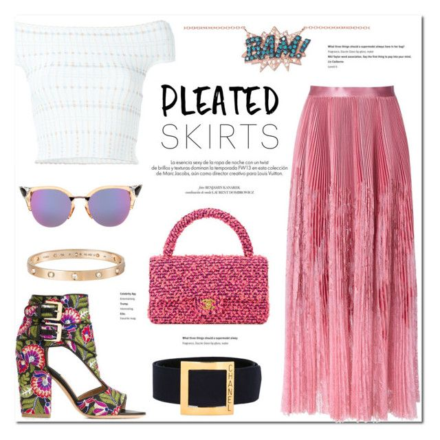 """""""Pleats, please!"""" by stellaasteria ❤ liked on Polyvore featuring Alexander McQueen, Laurence Dacade, Chanel, Louis Vuitton, Diane Kordas, Fendi, Cartier and vintage"""