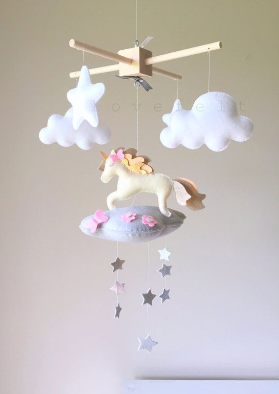 Licorne de mobile mobile nuage bébé par GiseleBlakerDesigns