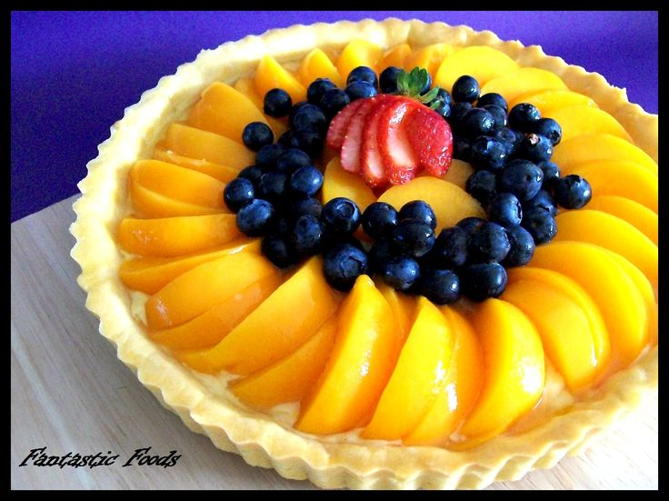 Peach and Blueberry Tart with an Orange Custard Filling