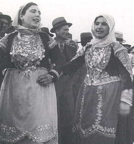 Women in costumes from Megara. Photographs from a feast recorded by Nelly's between 1933 to 1939. Nelly's is the artistic nom de plume of Elli Seraidari, from Aidini in Asia Minor. Athens, Benaki Museum, Photographic Archive, Nelly's Archive.
