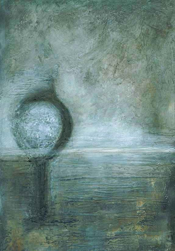 """""""There are No Words"""" Margaret Hage, Plaster, Acrylic, oils, pewter rub, gesso on card"""