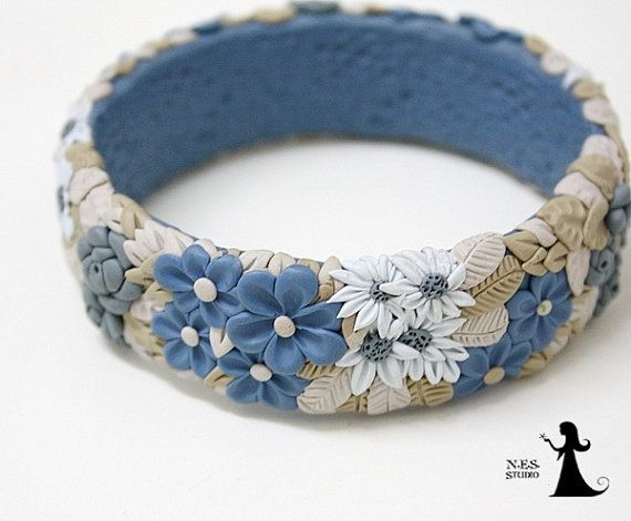 Floral filigree polymer clay bangle - Denim blue and grey - polymer clay cuff with tiny flowers - made in Israel