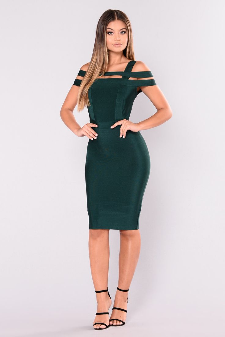 Devi Bandage Dress - Hunter Green