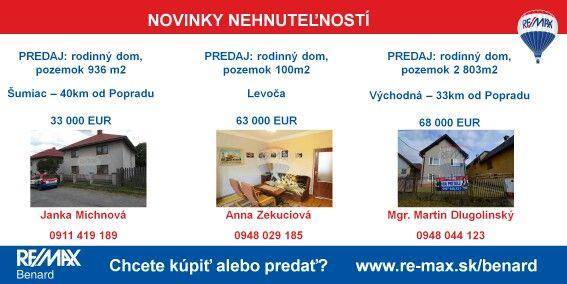Radi by ste si vychutnávali kávičku v takéto slnečné dni vo svojom novom dome?  Máme pre vás rodinný dom v Levoči, v Šumiaci a vo Východnej a nielen tam :-) Ak hľadáte inú nehnuteľnosť, pozrite si našu ponuku nehnuteľností - exkluzívne iba u nás >> http://www.re-max.sk/benard