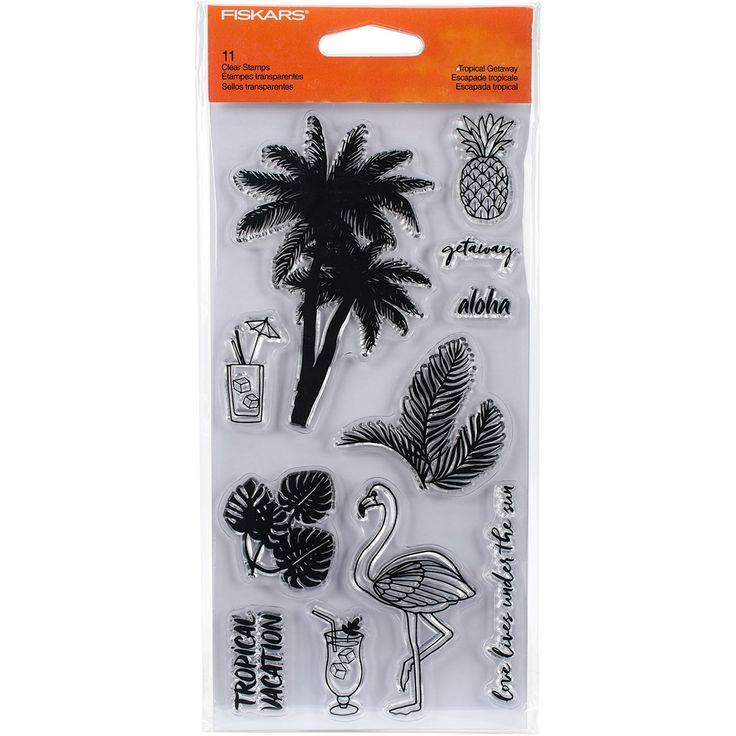 "Fiskars Clear Stamps 4""X8""-Tropical Getaway - tropical getaway"