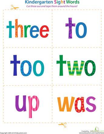 Worksheets: Kindergarten Sight Words: Three to Was