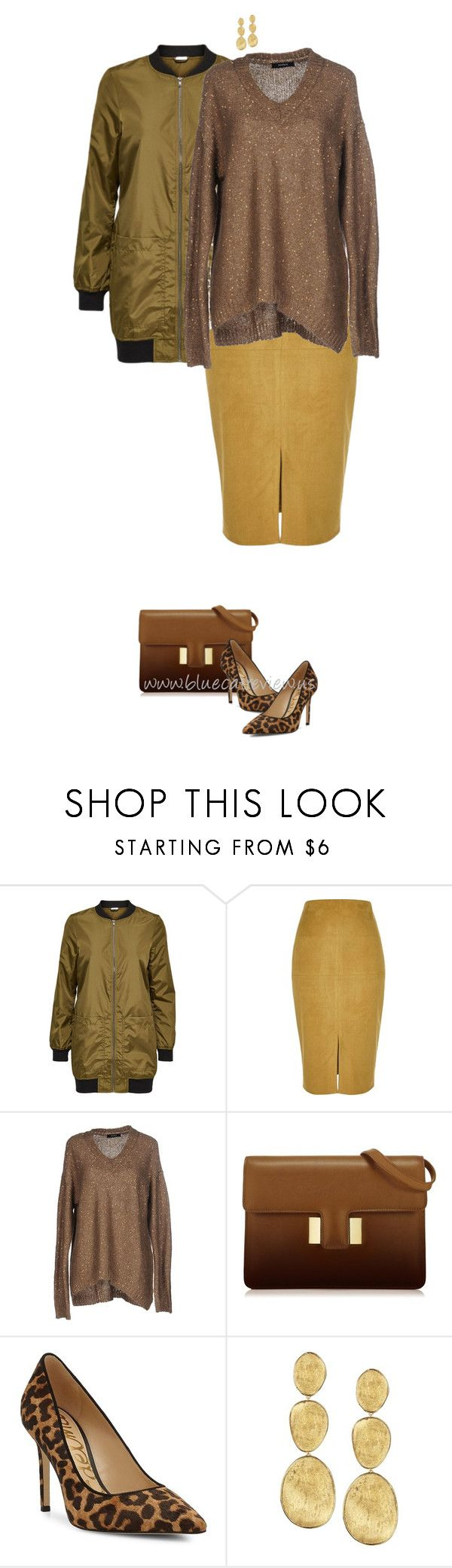 """Golden Autumn 8"" by bluecatreview13 ❤ liked on Polyvore featuring River Island, Alpha Studio, Sam Edelman, Marco Bicego, skirt, bluecatreview, fallcolour, over50styling and longbomberjacket"