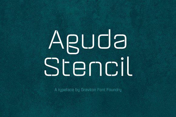 Aguda Stencil Font Family by Graviton Font Foundry on @creativemarket