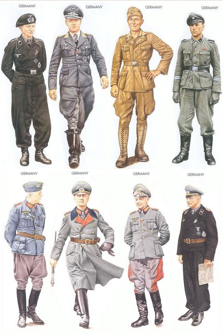 An assortment of the uniforms worn by German forces during World War II