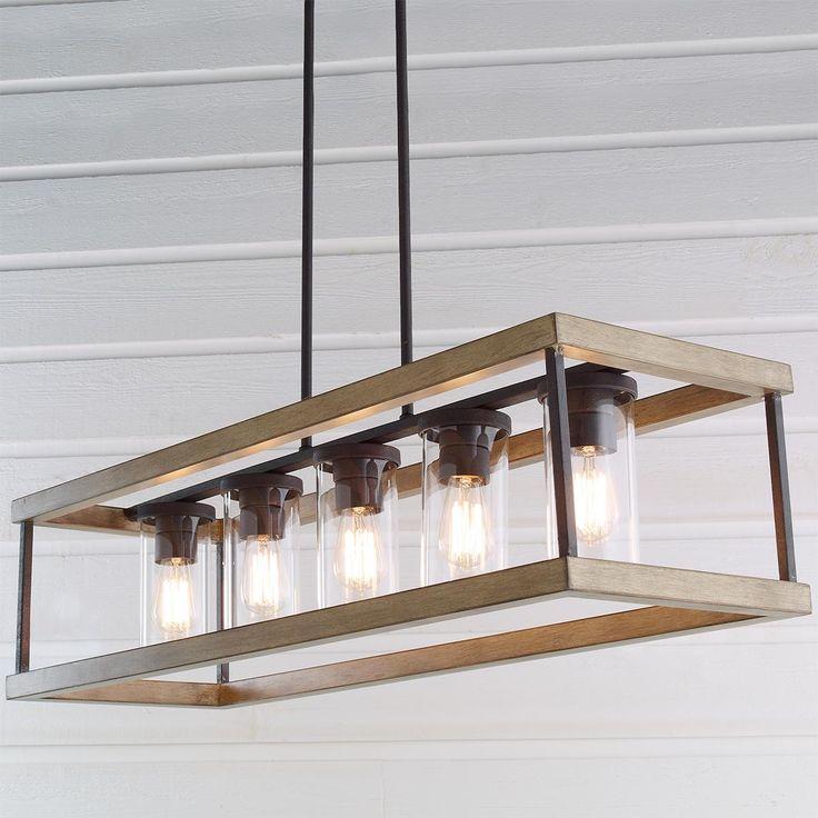rectangular dining room light fixtures | Indoor/Outdoor Rectangular Rustic Chandelier | Dining room ...