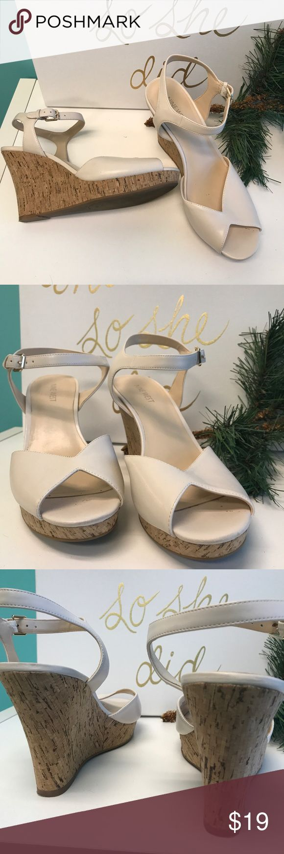 Nine West Cream Wedge With Cork Heels Great condition and super cute! Nine West Shoes Wedges