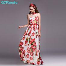 Primavera verão pista designer de moda 2017 maxi dress branca sem mangas print floral elegante lindo longa casual dress(China (Mainland))