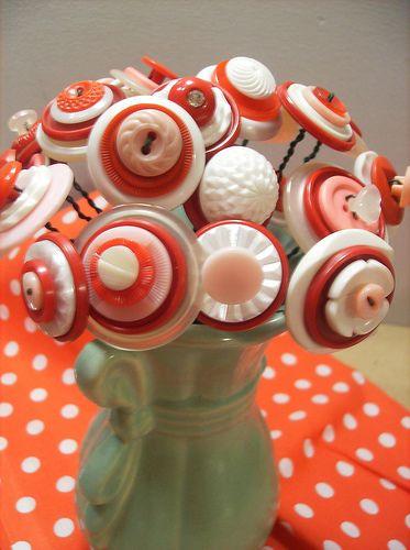Button Art . Stacked Buttons . Bouquet