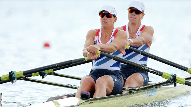 Great Britain's Katherine Grainger and Anna Watkins set a new Olympic record in the women's double sculls heats at Eton Dorney