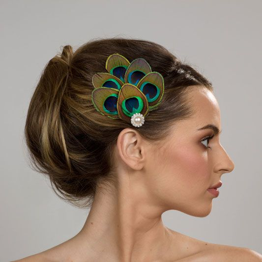 DIY peacock feather hair accessories