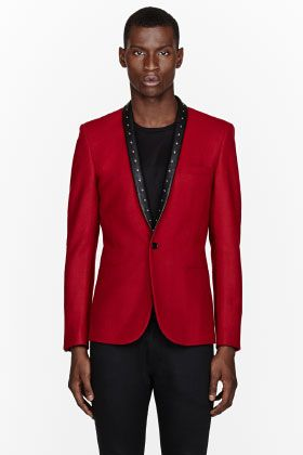 Saint Laurent Red Studded Leather Lapel Blazer for men