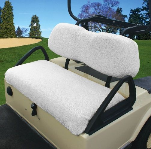 Fairway Golf Cart Seat Cover In Sand Or White Fleece